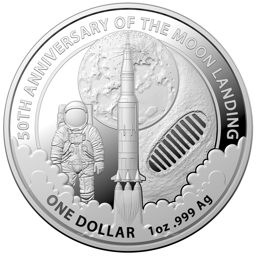 5 x 2019 50th Anniversary of the Moon Landing 1oz Silver Bullion Coin
