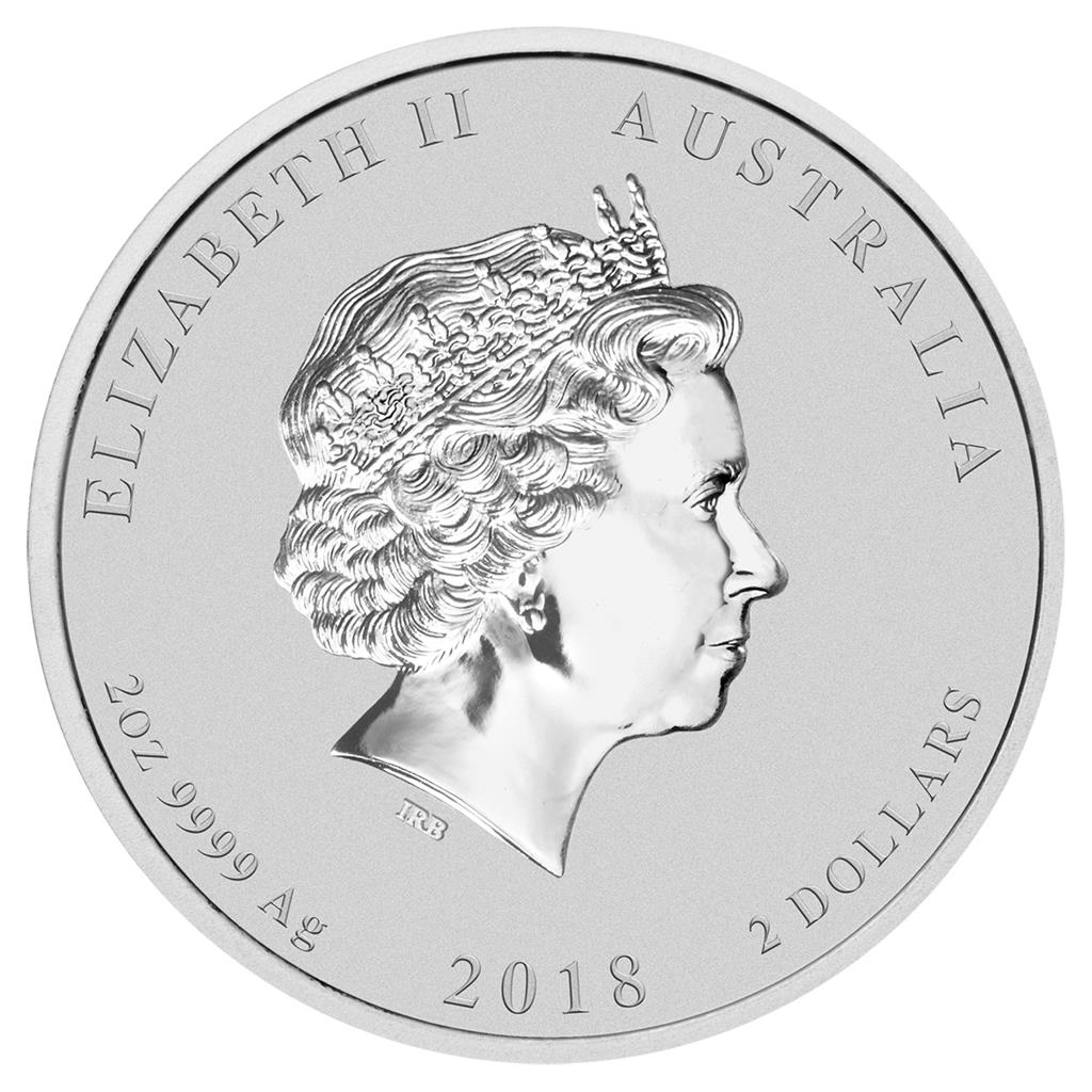 2018 Lunar Australia Dog 1 oz Silver Colorized Bullion Coin in original capsule