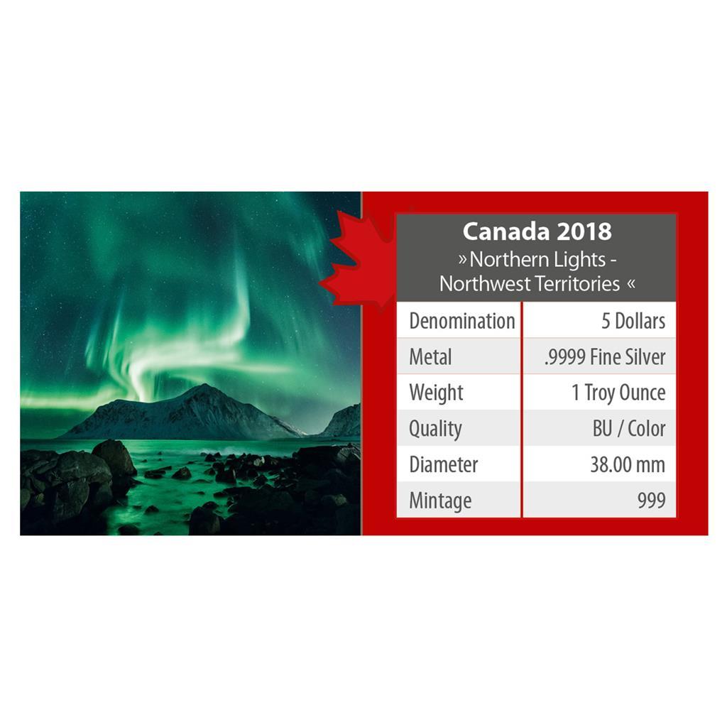 $5 Dollar Maple Leaf Northern Lights Northwest Territories Canada 2018 coloured
