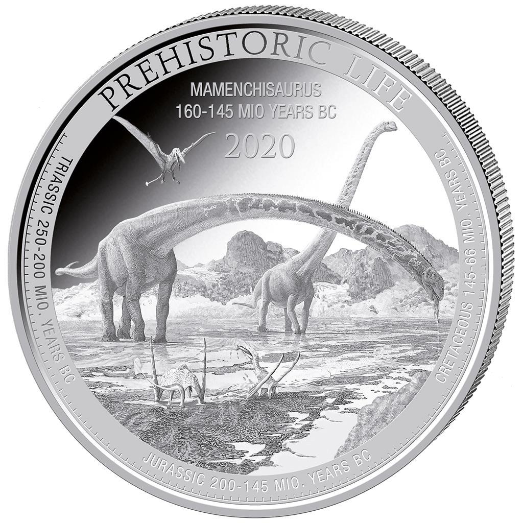 2020 Congo Plesiosaurus BU 1 oz Silver Coin in capsule Prehistoric Life Series