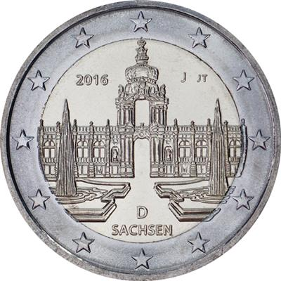 All Mints A,D,F,G,J UNCIRCULATED Sachsen - SAXONY GERMANY 5 x 2 EURO 2016