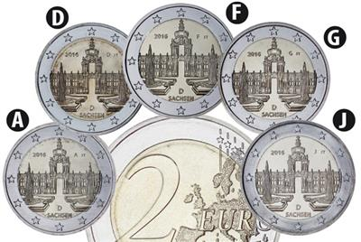 A,D,F,G,J Sachsen - SAXONY All Mints GERMANY 5 x 2 EURO 2016 UNCIRCULATED