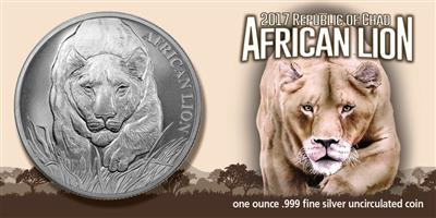 2017 RepublIc of Chad African Lion 1 Oz 999 Silver Coin